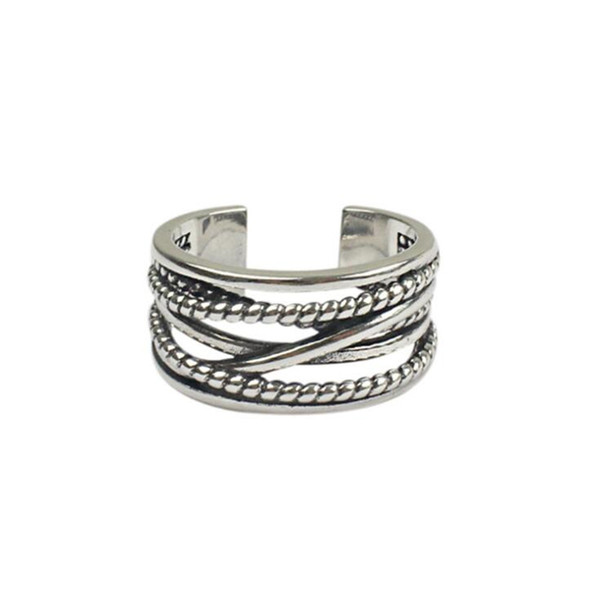 Unisex Vintage S925 Jewelry Multilayer Winding Twist Wide Flat Ring Fashion Ancient Sterling Silver Rings Open Mouth Adjustable