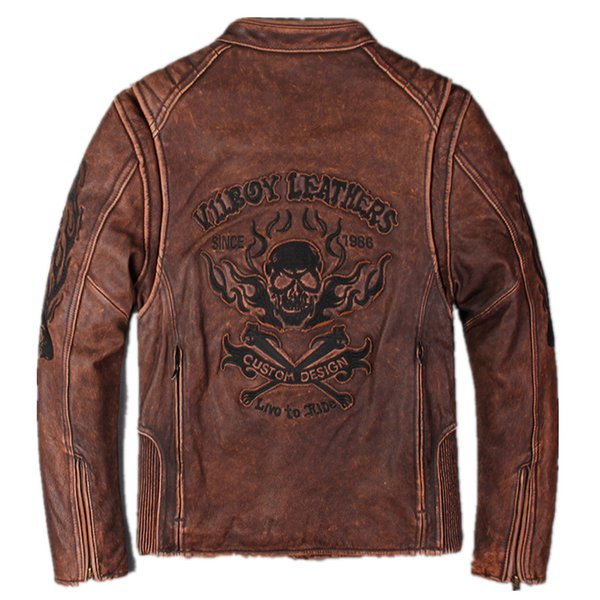 Men Vintage Red Genuine Skull Leather Motorcycle Jacket Real Thick Cowhide Slim Fit Leather Biker Winter Coats M-XXXL