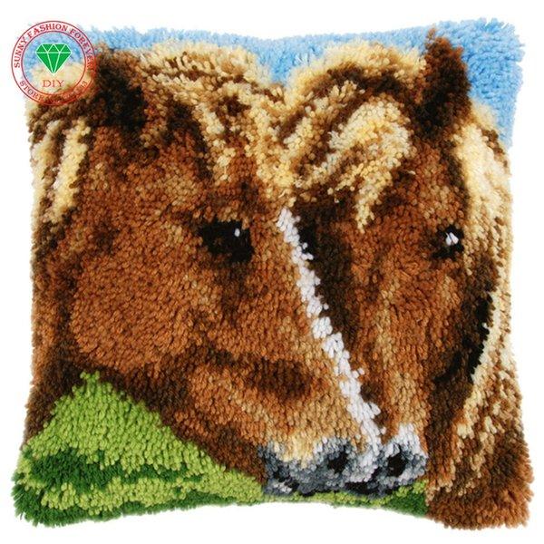 Pferd Bild Teppich-Kits Stickerei Kissen- Stickgarn Knüpfteppich Kits Kissenausgangskissen nähen