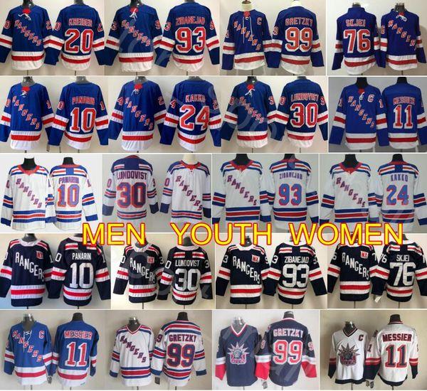 New York Rangers Jersey Hockey Artemi Panarin Mika Zibanejad 24 Kaapo Kakko Henrik Lundqvist Messier Chris Kreider Wayne Gretzky Brady Skjei