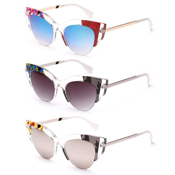 Cat Eye Sunglasses Colorful Metal Frame Reflective Fashion Trendy Women Men Party Driving Outdoor Beach Eyewear Decoration UV400