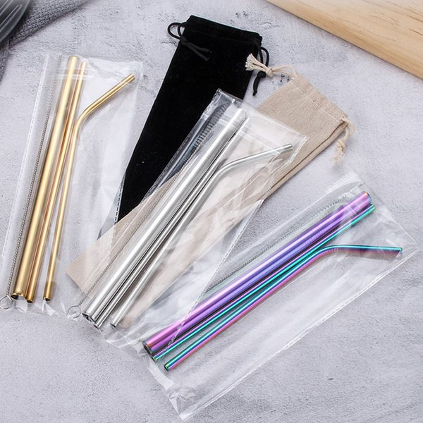 top popular 7 colors New Portable Reusable Stainless Steel Straw 4pcs Set Straight Bent Straw Cleaning Brushs Drinking Set Wedding Gift 2021