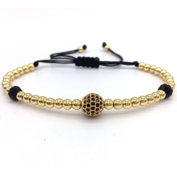 2019 New Diy Design Pave CZ Ball Charm Bracelet Men Women Braided Macrame Copper Beads Jewelry Gift For Men Women