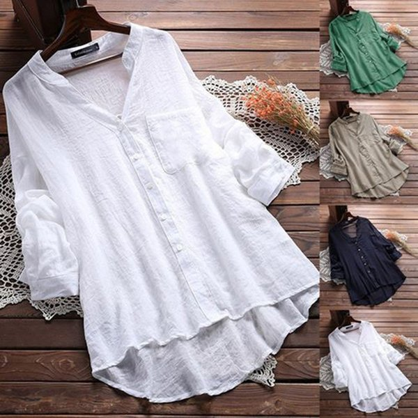 Long Sleeve V Neck Women's White Blouse Shirt Office Lady Button Casual Loose Female Blouses Plus Size 2019 Spring Women Tops