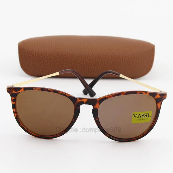 1 unids New Classic Vassl gafas de sol de moda unisex para hombre mujer Gafas Diseñador Marca Gafas de sol Marco de tortuga marrón UV400 lentes con caja