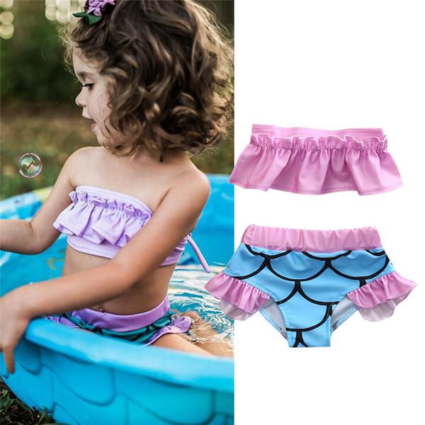 2018 Mayo Yürüyor Çocuk Kız Mermaid Ruffled Bikini Set Lotus Yaprağı Kapalı Omuz Mayo Mayo 2-7 T Beachwear Biquni