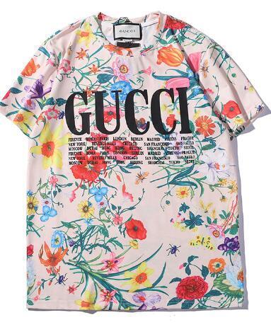 2019 ss GC-T-Shirts Volle Blumen STADT-NAME-Druckfrauen-T-Shirts beiläufige Baumwollmann-T-Shirts aus T-Shirts Größe S-XXL