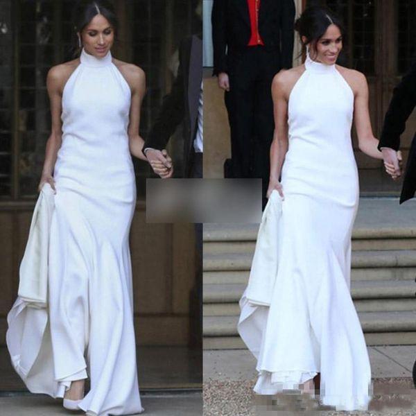 Sexy Halter Soft Satin Mermaid Wedding Dresses Elegant White High Collar Bridal Dresses Prince Harry Meghan Markle Wedding Gowns Cheap