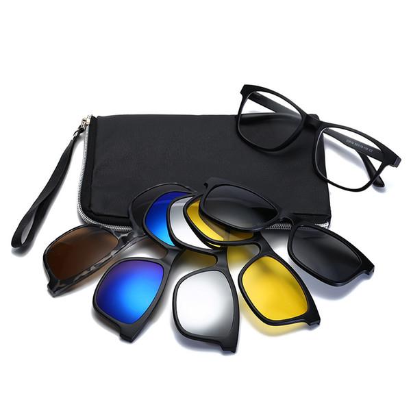 Unisex Square Non-prescription Eyeglasses Glasses Clear Lens Eyewear With 5 Pcs Magnetic Clip-on Sunglasses For Men Women Male