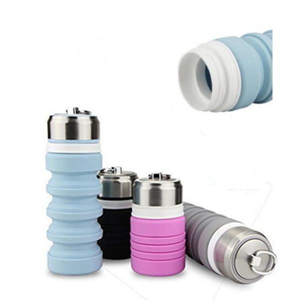 Bottiglia di collutorio pieghevole in acciaio inossidabile di grado alimentare in silicone bottiglia d'acqua scalabile portatile da viaggio attrezzatura da campeggio tumbler 400 ml ZZA1031