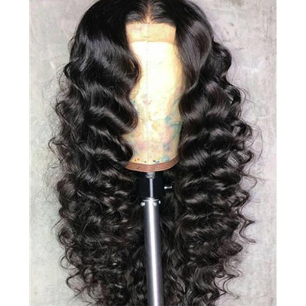 Perruques avant de lacet Deep Wave Pleine perruques de cheveux humains préplissées Cheveux naturels de bébé Cheveux péruviens indiens brésiliens Densité 180%