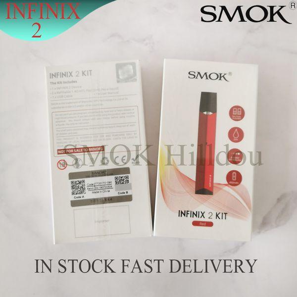 SMOK INFINIX 2 Kit Buil-in 450mAh with 2ml 1.4ohm MTL Refillable Pod Cartridge Pen Style Air-driven Pod System Vape Kit 100% Authentic