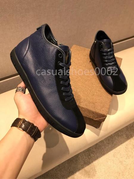 2019 Novos homens casuais altos tops designer de moda de luxo sapatos de alta qualidade sapatos de grife de couro preto de veludo designer sapatos tamanho 38-44 L03