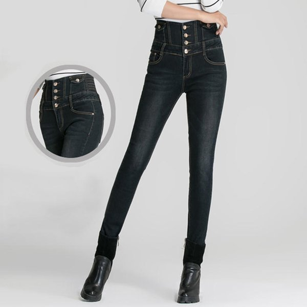 Women Jeans High Waist Pencil Pants Slim Elastic Denim Trousers (30,Light blue)