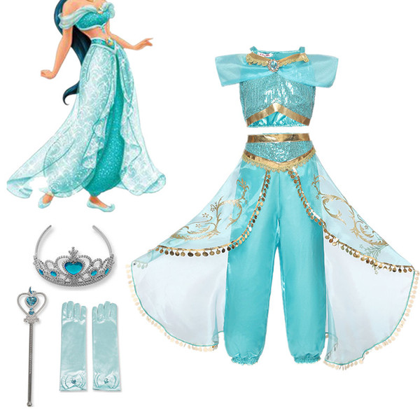 Fancy Girl Dress Aladdin Princess Jasmine Dress up Costume Children Sleeveless Sequin Cosplay Clothes Kid Party Fantasy 4 10