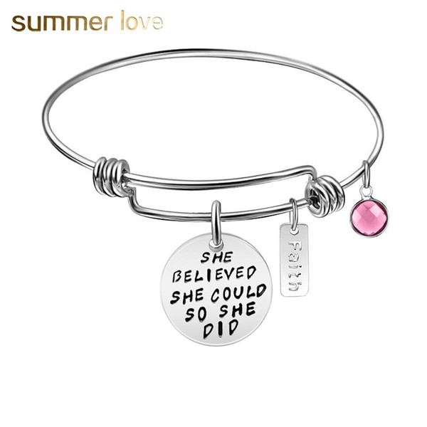 High Quality Inspirational Faith Pink Birthstone Pink Charm Bracelet Bangle for Women 60mm Expandable Stainless Steel Size Wire Bangle