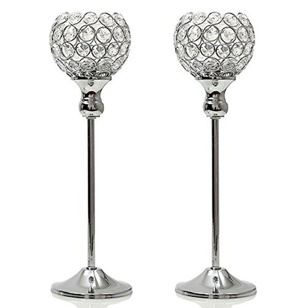 2pcs Silver Crystal Candle Tealight Holders Candlesticks Stand Home Party Holiday Decoration Valentines Day Table Centerpieces