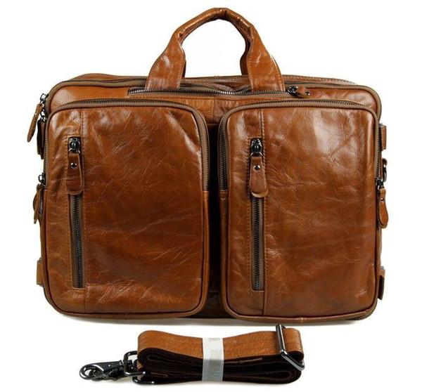J.M.D Sac à bandoulière Messenger pour hommes en cuir véritable à 3 utilisations