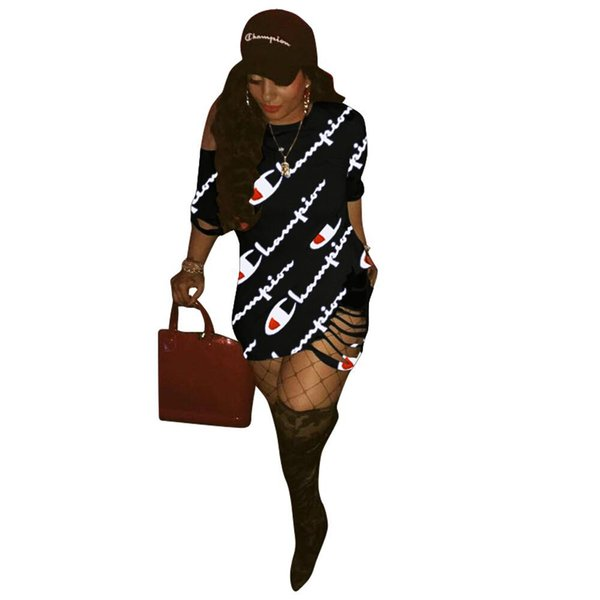 Luxury Summer Women Dresses O-Neck Holes Sexy Dresses Lady Letters Printed Clothing Club Loose Street Dresses