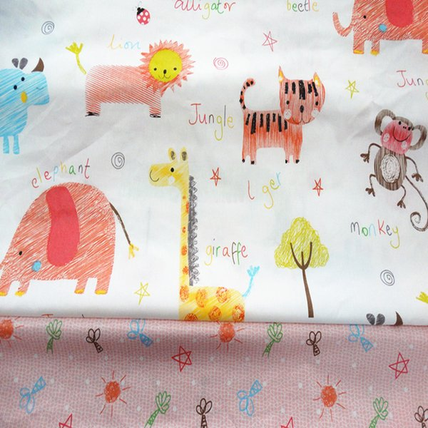 Happy zoo and sun tree style 100%cotton fabric for baby cloth 10yards/lot tomo1841