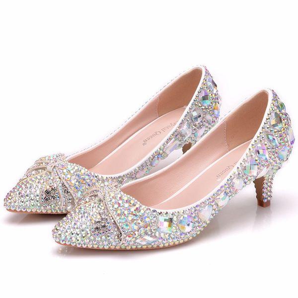 Crysta lqueen Scarpe Cenerentola Donna Tacchi per la sera Party Glittering Round Toe Custom colore strass Bow pompe da sposa