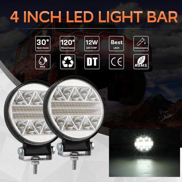 102W 4 pollici tondo lampeggiante stroboscopico LED lavoro barra luminosa guida fuoristrada modificato fari fuoristrada luce superiore pratico