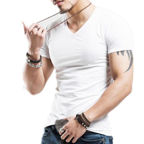 Erkekler Artı Boyutu Yaz Temel Üst Düz Renk Kısa Kollu V Boyun Slim Fit T-Shirt