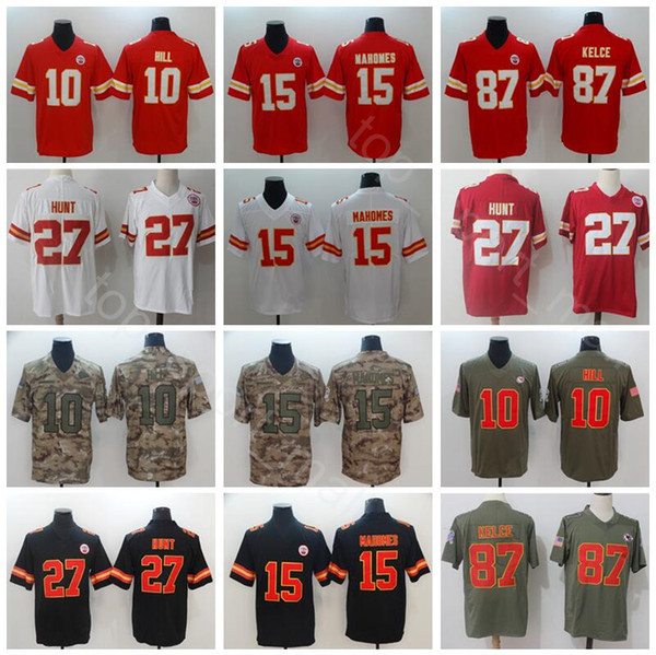 new style d8a40 4a404 2019 Football Kansas City Chiefs 15 Patrick Mahomes Jerseys 10 Tyreek Hill  27 Kareem Hunt 87 Travis Kelce Red Black Color Rush Salute Service From ...