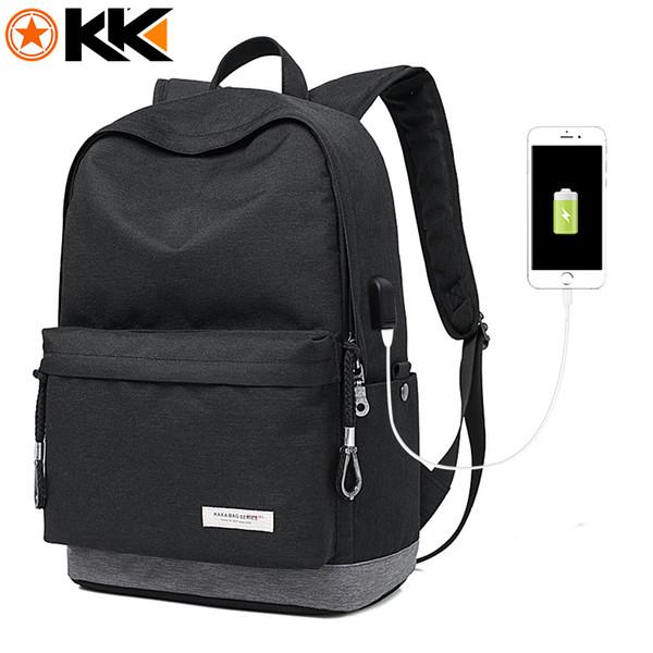 KAKA Male Laptop Backpack for Men USB Design Women Travel Backpacks Carrier Student School Bags for Teenagers Black Mochila 2199
