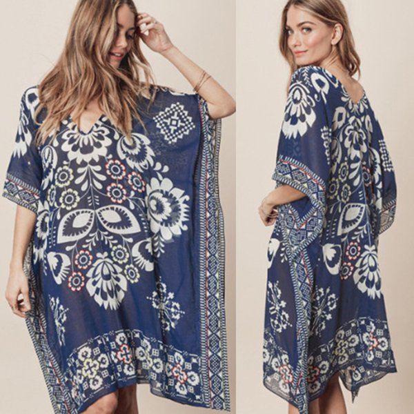 Large Size Women Beach Wear Women's Plus Coverups For Bathing Suit Covers 2019 New Navy Flowers Chiffon Neck Loose Smock Dress Y19072001