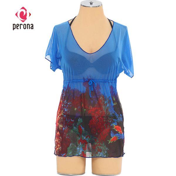 Wrap Elbise Plaj Cover Up U-Boyun Gevşek Kadınlar Plaj Elbise Sheer Kapak-ups Aşınma Bel Toplar Şifon Bikini Tankini