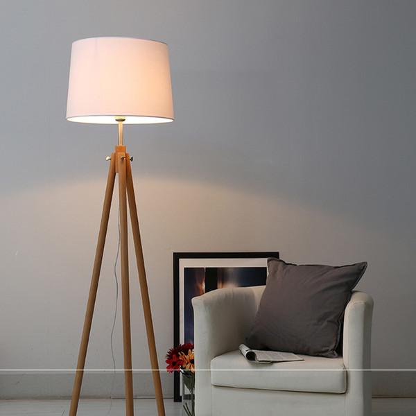 Großhandel Moderne Nordic Holz Stehlampen Holz Stoff Lampenschirm Stativ  Stehlampe Für Wohnzimmer Schlafzimmer Indoor Home Leuchte Von ...