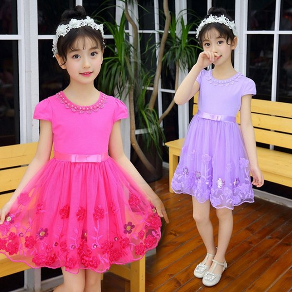 Kids Designer Clothes Girls Flower Dresses Tulle Girl Princess Dress Children Party Dresses Boutique Kids Clothing 3 Colors Optional YW3868