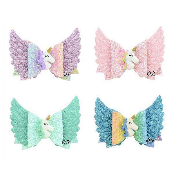 INS Kids Glitter Unicorn Bowknot Hairpin Angle Wings Princess Cartoon Rainbow Barrettes DIY Hairclip Kids Hair Clip Headwear 2019 A52701