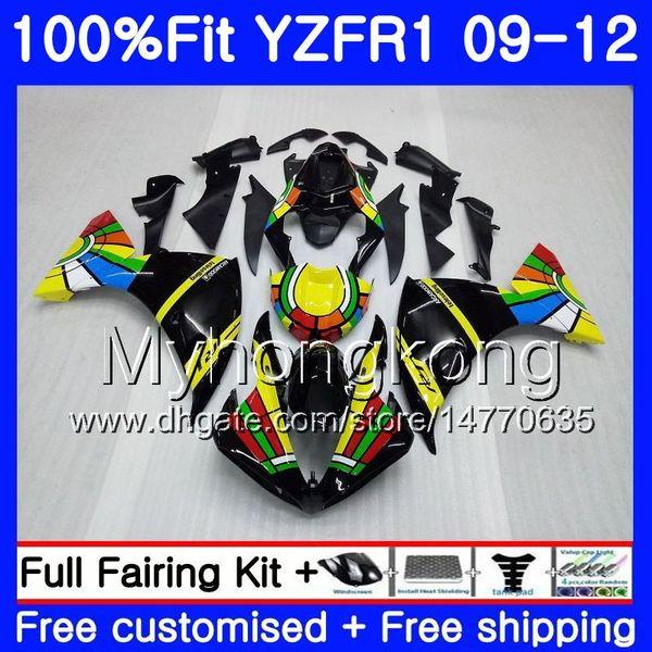 Injeção Para YAMAHA YZF 1000 R 1 YZF-1000 YZFR1 09 10 11 12 arco-íris preto 241HM.19 YZF R1 YZF1000 YZF-R1 2009 2010 2011 2012 Carenagem Kit
