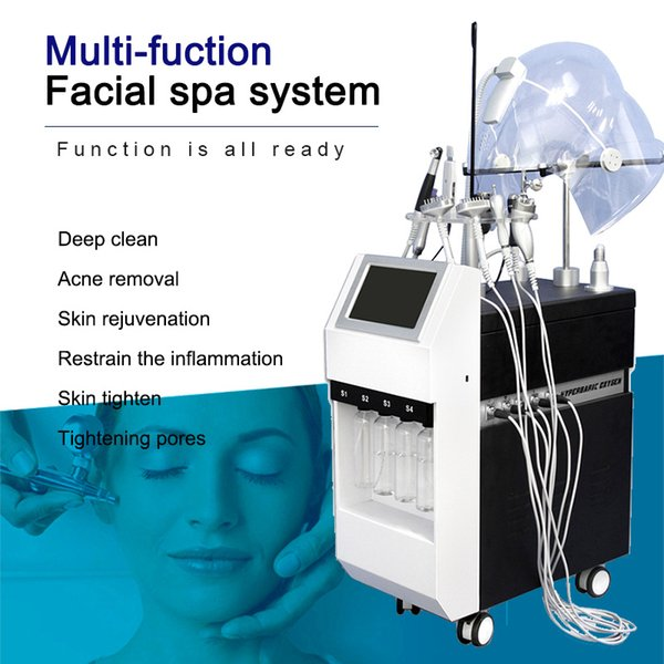New 10 in 1 BIO RF Cold Hammer Hydro Microdermabrasion Water Hydra Dermabrasion Spa Facial Skin Oxygen Therapy Pore Cleaning Machine