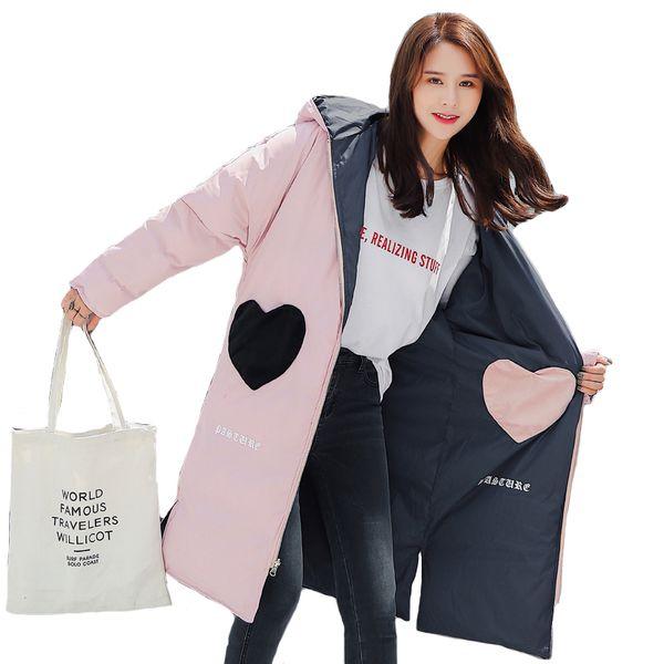 2019 Nuevo diseño Ambos lados se pueden usar Chaqueta de invierno Mujeres con capucha Encantadora dulce Outwear Abrigo femenino Parka larga Invierno