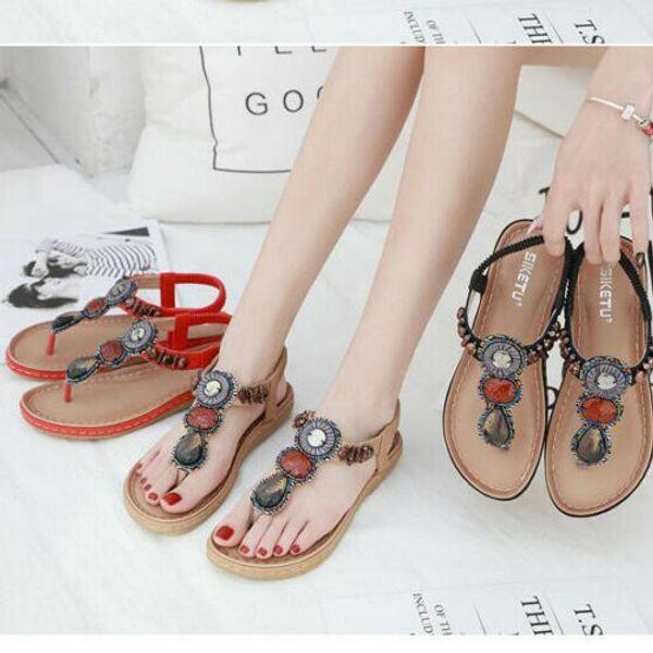 Fashion Summer Charm Women Bohemia Beads Slipper Flip Flops Flat Sandals Beach Thong Shoes Hot Sold