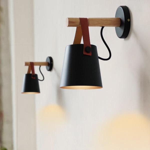 LED mur en bois mur Lampe de chevet Lit Lumières Lumière Nuit Moderne Nordic Abat Home Décor blanc ceinture noire E27 85-265V