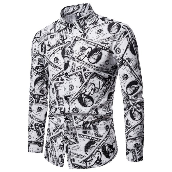 Мужская Весна свободного покроя тонкий подходят рубашки с длинным рукавом печатный кнопка Верхняя рубашка блузка отложным воротником топы Umlegekragenoberteile
