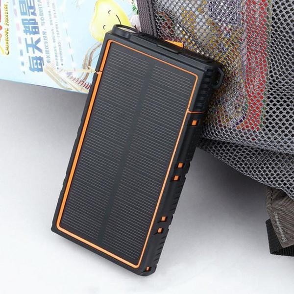 best selling Solar 20000mAh Powerbank Dual USB Charge Waterproof Power Bank External Battery Charger Universal Poverbank Phone