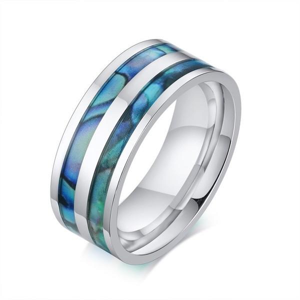 Anel de Aço Inoxidável dos homens Abalone Shell Design Inlay Prata 8mm Marcas de Casamento Homem Presentes