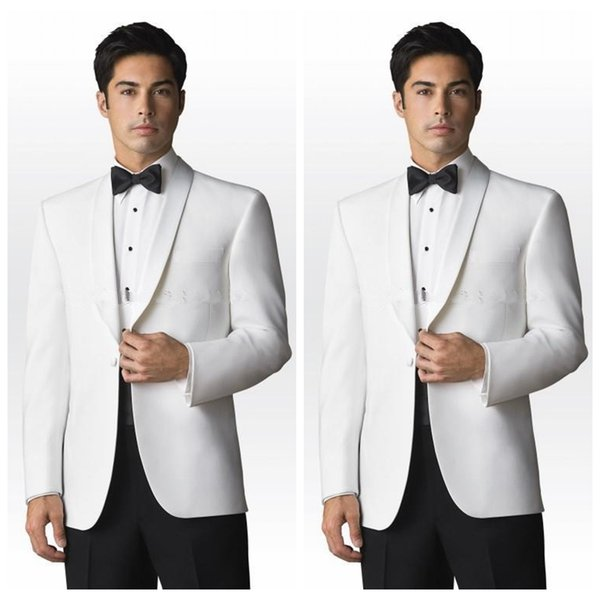 2019 Custom White Jacket Wedding Groom Tuxedos Groomsmen Business Party Suits Tailor-Made Mens Suit Cheap (Jacket+Pants+Bow)
