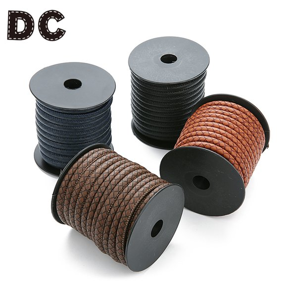 DC 2018 New Fashion 10Meter/roll Dia 6mm Black Brown Round PU Leather Cord Rope Thread for Bracelets DIY Jewelry Findings