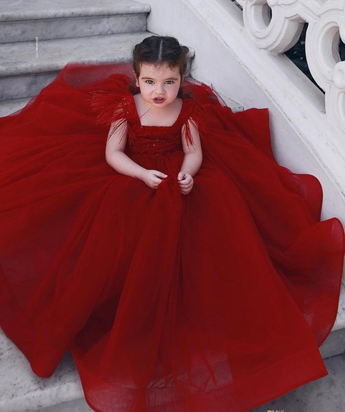 2019 Cheap Lovely For Country Garden Dark Red Flower Girl Dresses Daughter Toddler Pretty Kids Pageant Formal First Holy Communion Gown