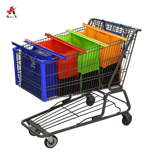 Attra-Yo Venta caliente 4PCS / Set Carrito de compras Bolsas de carretilla Bolso de compras de supermercado plegable reutilizable Bolso de supermercado ecológico Bolsas