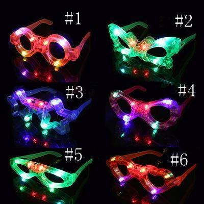 Decoração de Luz LED Vidro Plástico Brilho LED Óculos Light Up Toy Glass para Festa de Crianças Celebração Neon Show Natal EEA499