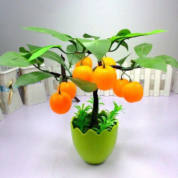 Simulation Fruit Orange Apple Tree Emulate Bonsai Decorative Artificial Flowers Fake Green Pot Plants Ornaments