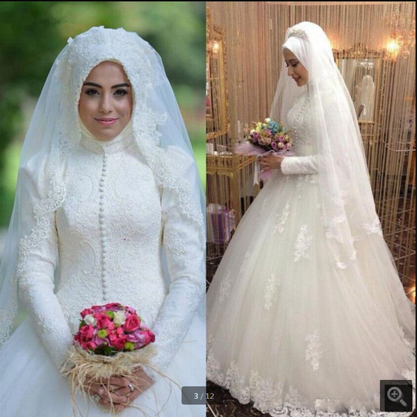 Modest Arabic style Bridal Gown Islamic Long Sleeve Muslim women Wedding Dress Arab Ball Gown Lace Hijab modest Wedding Dress 2019