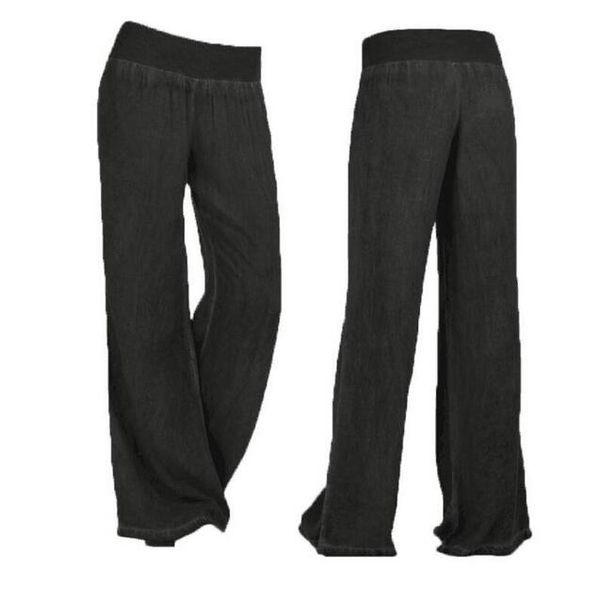 Free shipping 01 new women's wide leg elastic waist denim trousers loose board fashion casual pants